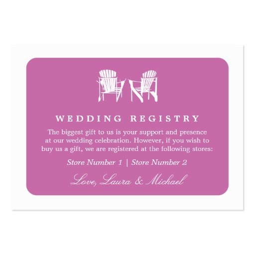 Adirondack Chairs   Wedding Bridal Gift Registry Business Card Templates