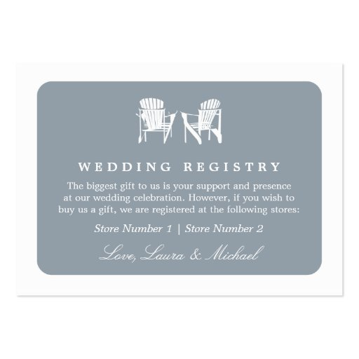 Adirondack Chairs   Wedding Bridal Gift Registry Business Cards