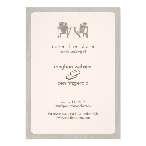 Adirondack chairs Wedding Save the Date Personalized Invite