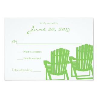 "Adirondack Chairs Zigzag Wedding Response Card 3.5"" X 5"" Invitation Card"