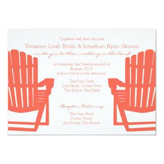 "Adirondack Coral Beach Chairs Wedding 5"" X 7"" Invitation Card"