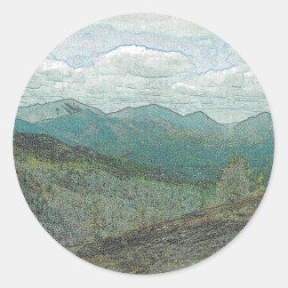 Adirondack Mountain Peaks Panorama Classic Round Sticker