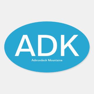 Adirondack Mountains ADK Oval Bumper Sticker
