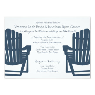 Adirondack Navy Blue Beach Chairs Wedding Personalized Announcement