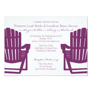 Adirondack Plum Beach Chairs Wedding 13 Cm X 18 Cm Invitation Card