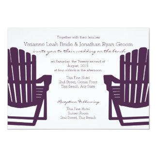 "Adirondack Purple Beach Chairs Wedding 5"" X 7"" Invitation Card"