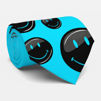 Adjustable Color Neon Black Happy Face Tie