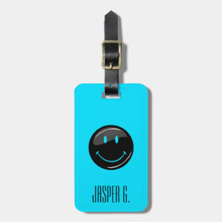 Adjustable Color Neon Black Hipster Happy Face Bag Tag
