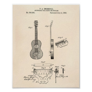 Adjustable Guitars 1893 Patent Art Old Peper Poster