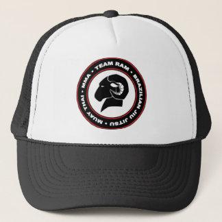 Adjustable Trucker Cap, Black and Red RAM Logo Trucker Hat