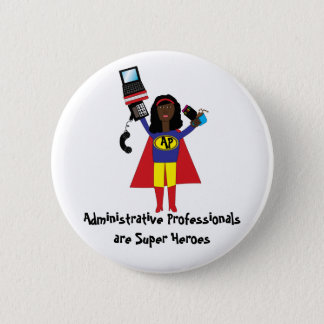 Administrative Professional Super Hero (African Am 6 Cm Round Badge