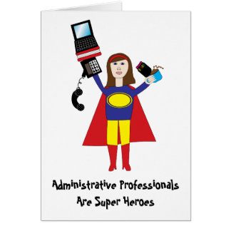 Administrative Professional Super Hero (Brunette)  Card