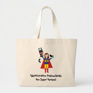 Administrative Professional Super Hero (Brunette)  Large Tote Bag