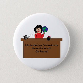 Administrative Professional World (Dark Hair) 6 Cm Round Badge