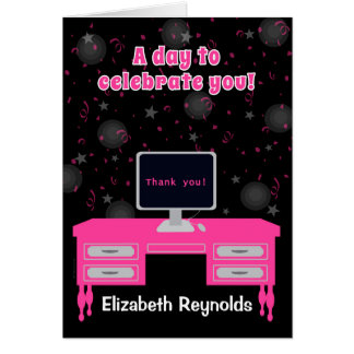 Administrative Professionals Day Hot Pink Desk Card
