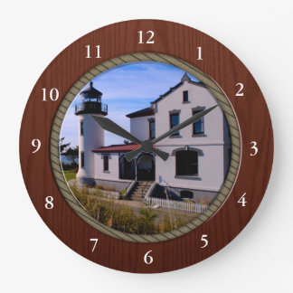 Admiralty Head Lighthouse Rope and Wood border Wall Clock