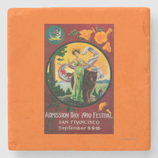 Admission Day Advertisment, State Festival Stone Coaster