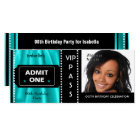 Admission Ticket Birthday Party Photo Teal Black Card