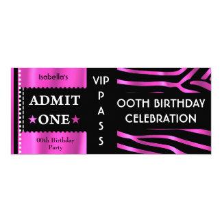 Admission Ticket Birthday Party Zebra Pink Black 10 Cm X 24 Cm Invitation Card