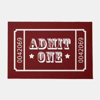 Admit One Circus Theatre Ticket Custom Colour Doormat