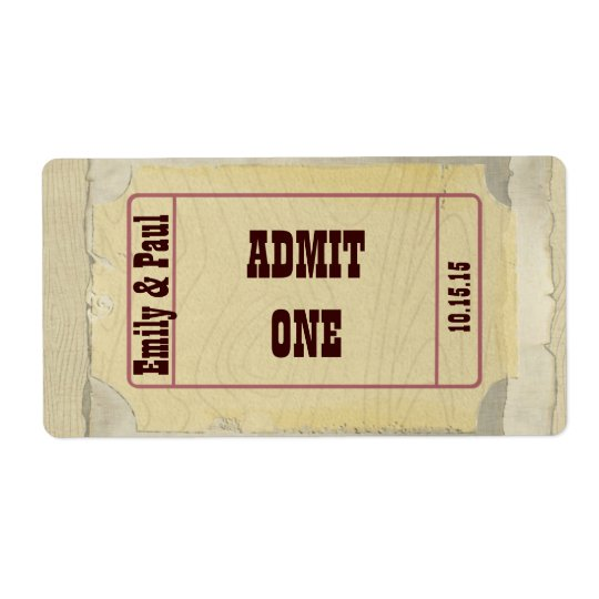 Admit One Save the Date Shipping Label