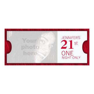 "Admit one VIP 21st birthday party photo invite 4"" X 9.25"" Invitation Card"