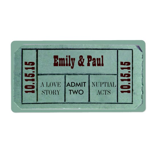 Admit TWO Save the Date TICKET Shipping Label