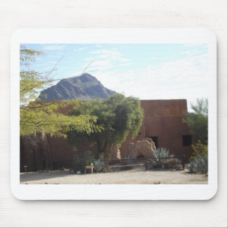 Adobe Building with Trees Mouse Pad