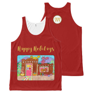 Adobe Gingerbread House & Cats Holiday Monogram All-Over Print Singlet