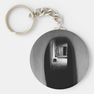 Adobe Passageway Black White photo Keychain