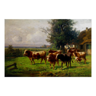 Adolf Chelius Cow Herd at Dachau Poster