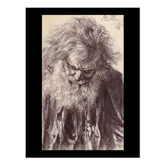Adolph von Menzel Portrait Of An Old Man Postcard