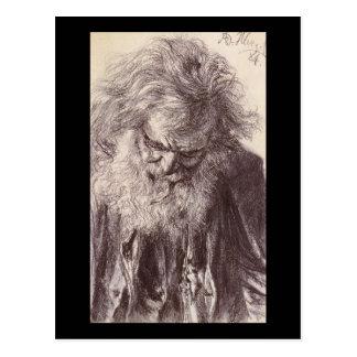 Adolph von Menzel Portrait Of An Old Man Postcard