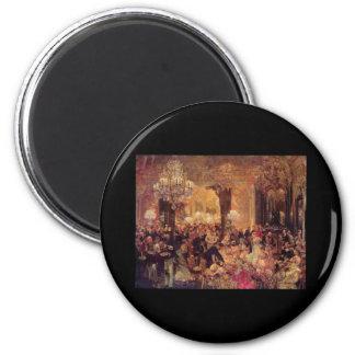 Adolph von Menzel Supper at the Ball 6 Cm Round Magnet