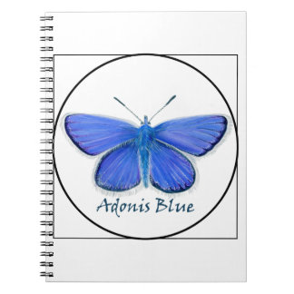 Adonis Blue Butterfly Watercolor Painting Spiral Notebook