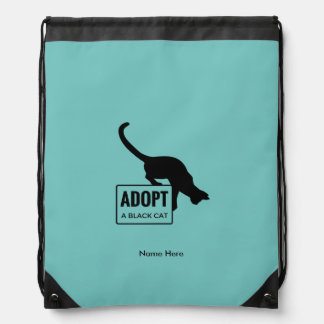 Adopt a Black Cat Drawstring Bag