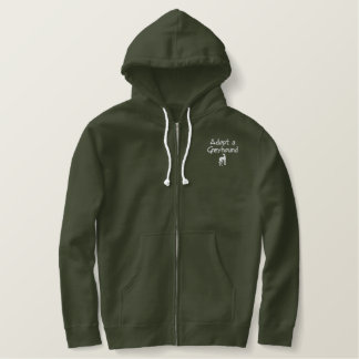 Adopt a Greyhound Dog Embroidered Zipped Hoodie