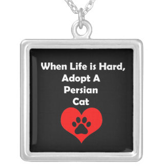 Adopt A Persian Cat Silver Plated Necklace