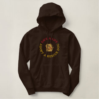 Adopt A Rescue Dog Embroidered Hoodie