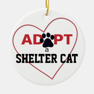 Adopt a Shelter Cat Round Ceramic Decoration
