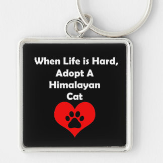 Adopt Himalayan Cat Silver-Colored Square Key Ring