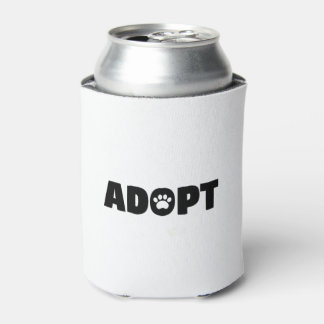 Adopt Paw Print Can Cooler