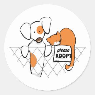 Adopt Pets Patch & Rusty™ Round Sticker