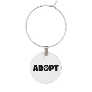 Adopt Rescue Dog Wine Charm