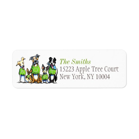 Adopt Shelter Dogs Off-Leash Art™ Green Title Return Address Label