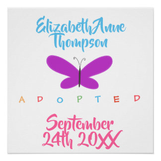 Adopted Butterflies - Custom Name Date Poster