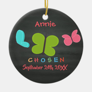 Adopted Butterfly Adoption - Custom Name Ceramic Ornament