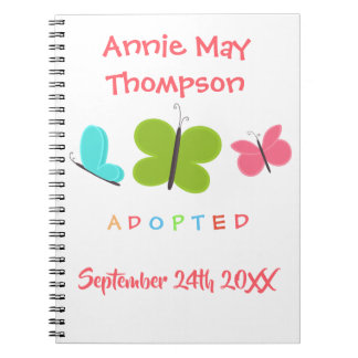 Adopted Butterfly Adoption - Custom Name Notebooks