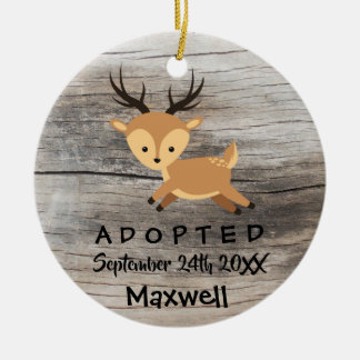 Adopted - Customised Deer Adoption Gift Ceramic Ornament