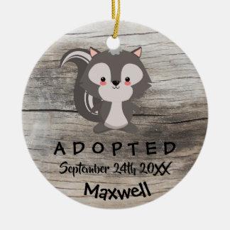 Adopted - Customised Skunk Adoption Gift Ceramic Ornament